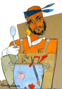 Giancarlo Moscara: Ritratto di cuoco -acrilico su cartone 70x100 - 2012 collezione QuoquoMuseo del Gusto